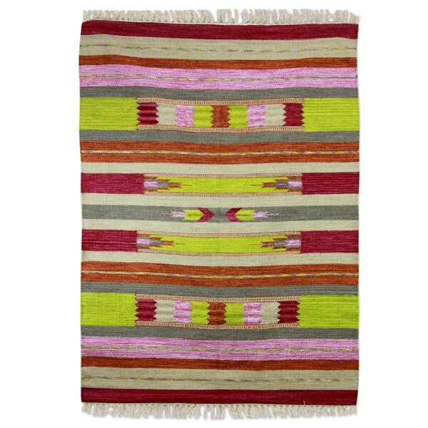 Hand-Loomed Lime/Pink Area Rug by Novica