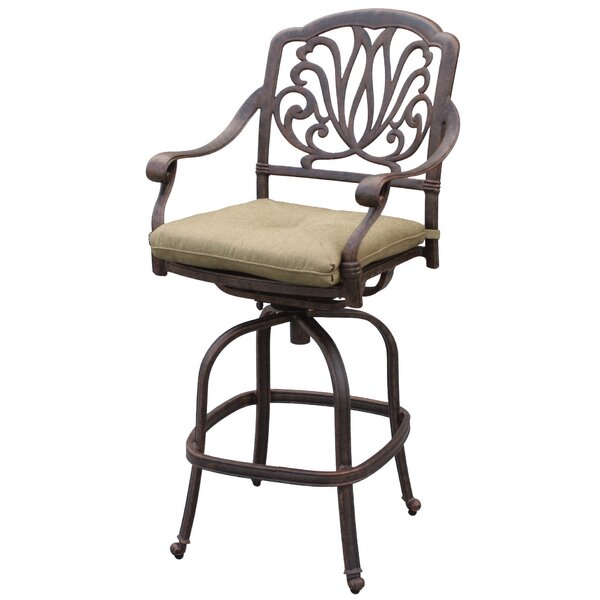 Lebanon 30 Patio Bar Stool with Cushion by Three Posts