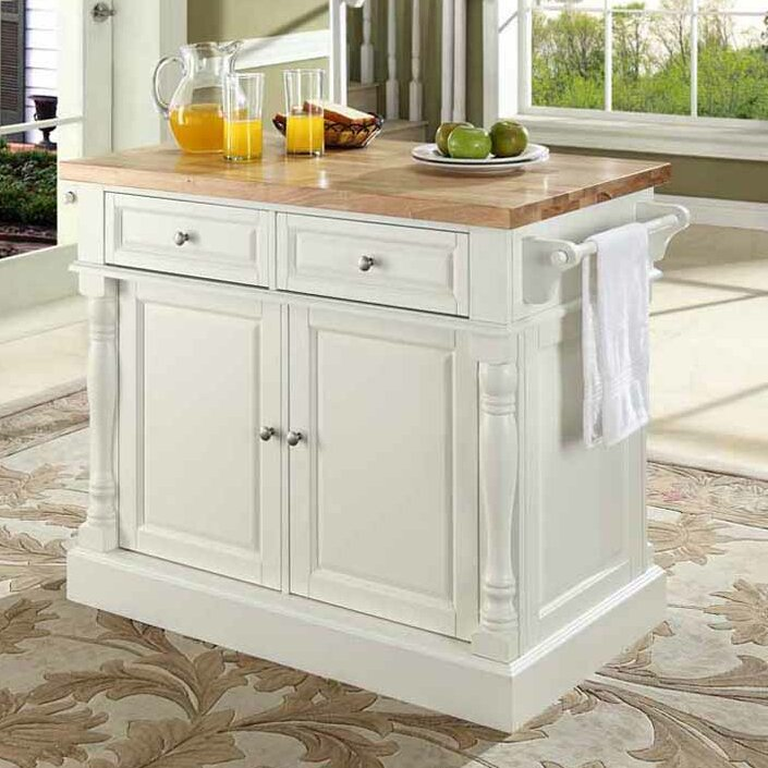 Darby Home Co Chalfant Kitchen Island with Butcher Block Top ...