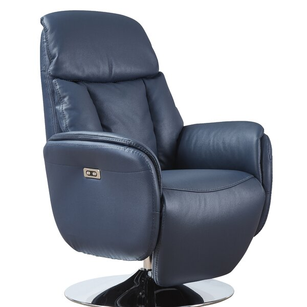 Macon Leather Power Recliner By Latitude Run