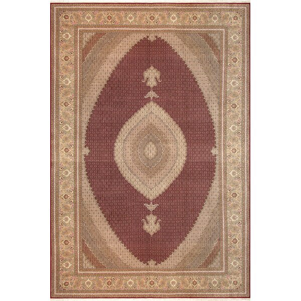 Tabriz Hand-Knotted Wool/Silk Burgundy/Brown Area Rug