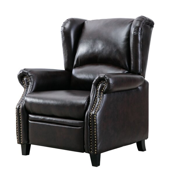 Push Back Recliner Chair Wingback Accent Club Chair For Living Room Brown W003462724