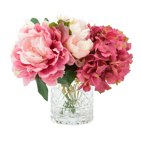 Bouquet of Mixed Hydrangea and Peonies in Glass Vase by Willa Arlo Interiors