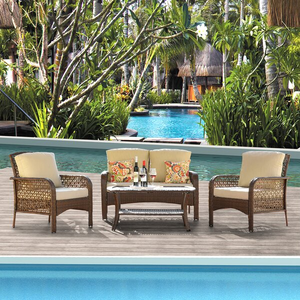 Cassville 4 Piece Rattan Seating Group with Cushions by Highland Dunes Highland Dunes
