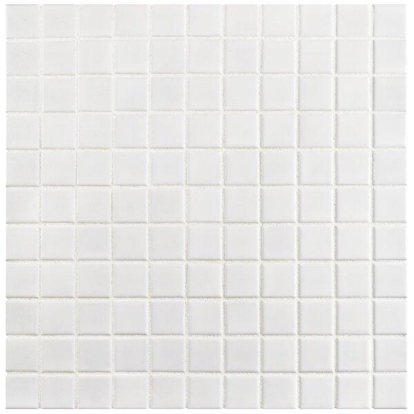 Retro 1 x 1 Porcelain Mosaic Tile in White by EliteTile