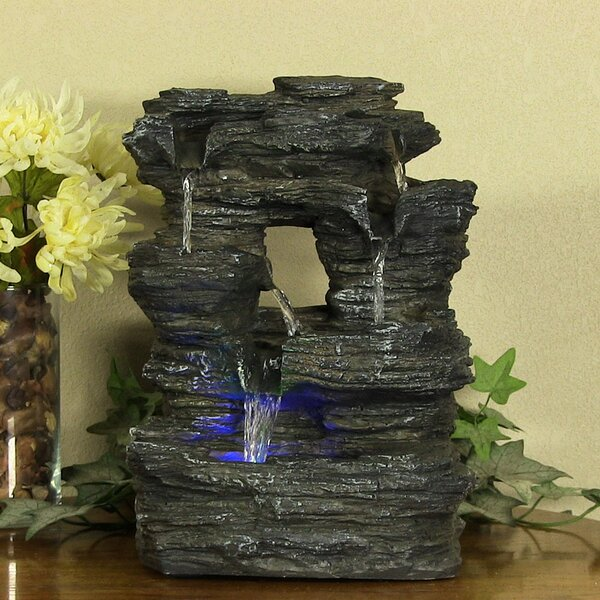 Fiberglass 5 Stream Rock Cavern Tabletop Fountain with Light by Wildon Home ®