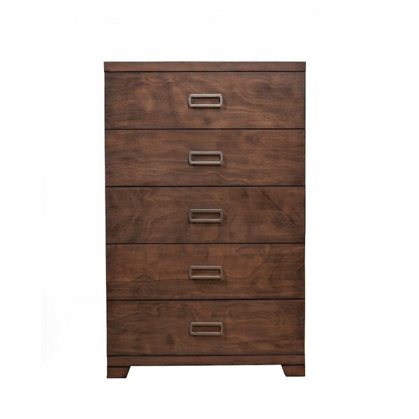 Eason Mahogany and Okoume Wood 5 Drawer Chest by Corrigan Studio