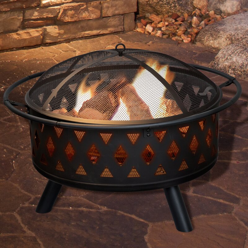 Crossweave Steel Wood Burning Fire Pit - Globe Fire Pit Wayfair