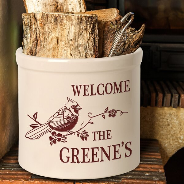 Woodfin Personalized Perched Cardinal Welcome Ceramic Pot Planter by August Grove