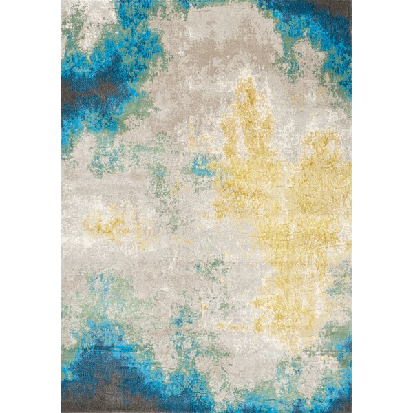 Billerica Distressed Abstract Blue/Yellow Area Rug by Bungalow Rose