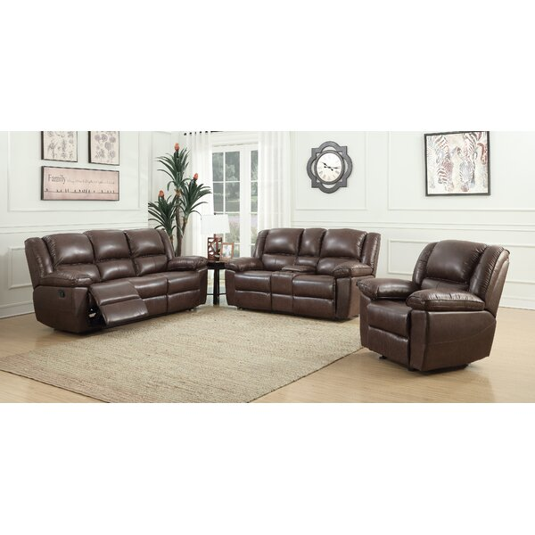 Priyansh 3 Piece Leather Reclining Living Room Set by Red Barrel Studio