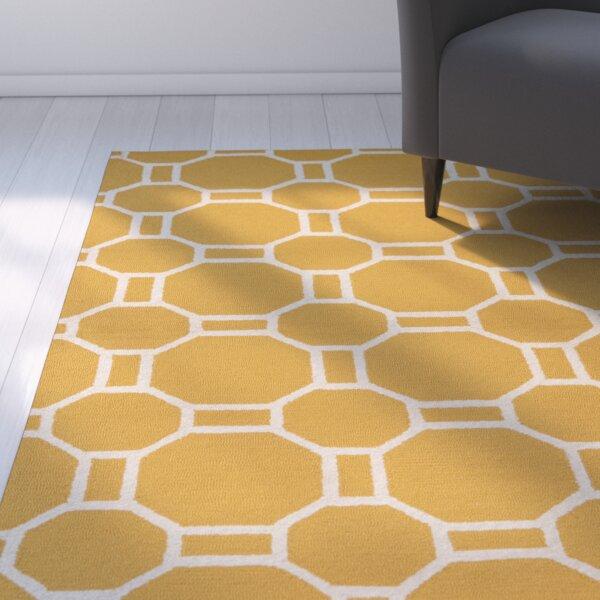 Evangeline Hand-Tufted Gold Indoor/Outdoor Area Rug by Ebern Designs
