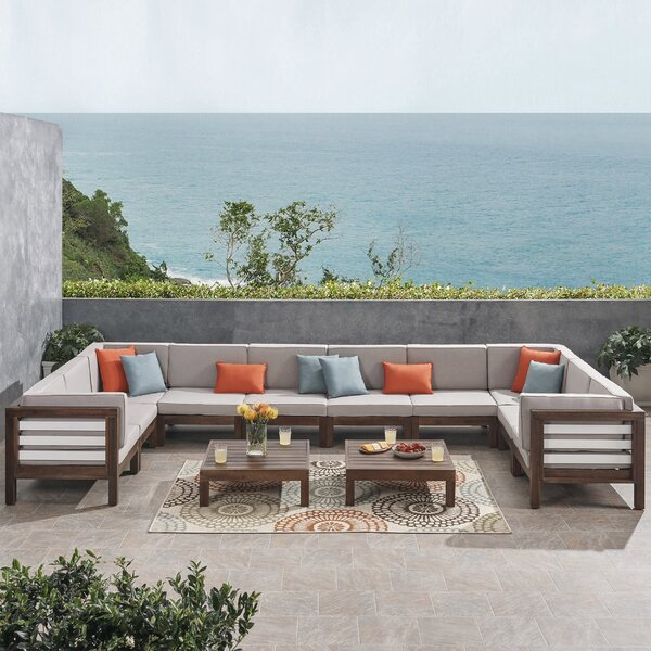 Soliz Outdoor U-Shaped 12 Piece Sectional Seating Group with Cushion by Breakwater Bay