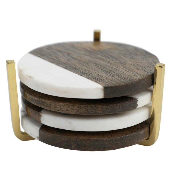 Marble and Wood Coaster (Set of 4) by Floor 9