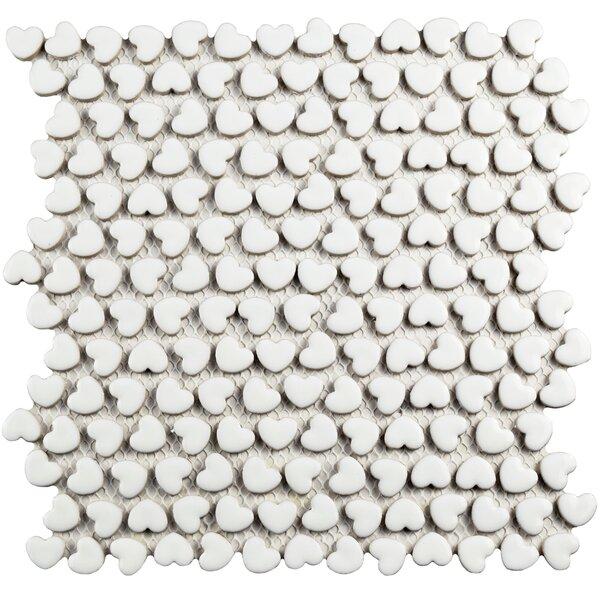 Valentine 0.7 x 0.8 Ceramic Mosaic Tile in White by EliteTile