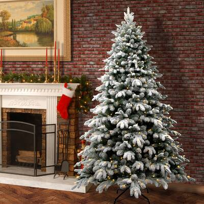 Snowy Avalanche 7 5 White Green Fir Trees Artificial Christmas Tree With Led Colored And