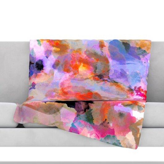 Painterly Blush Fleece Throw Blanket by KESS InHouse