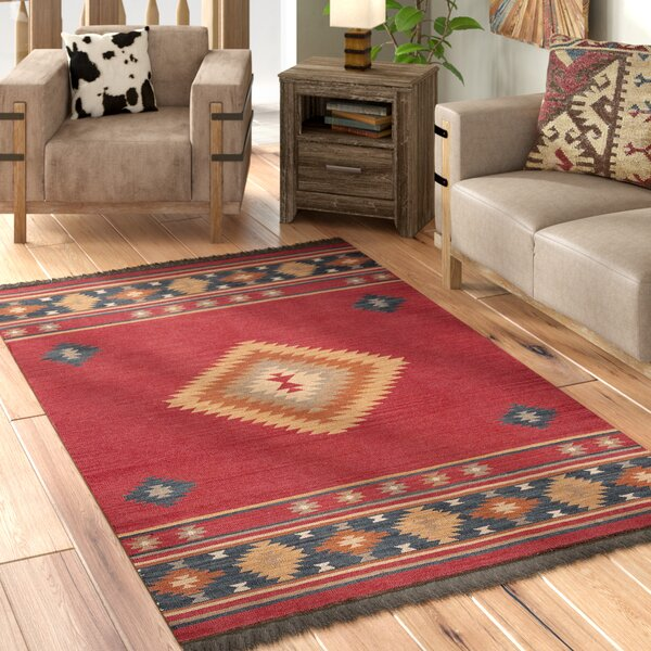 Double Mountain Hand-Woven Wool Red/Ivory Area Rug by Loon Peak