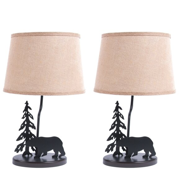 Metal Burlap Shade Bear 18.5 Table Lamp (Set of 2) by DEI