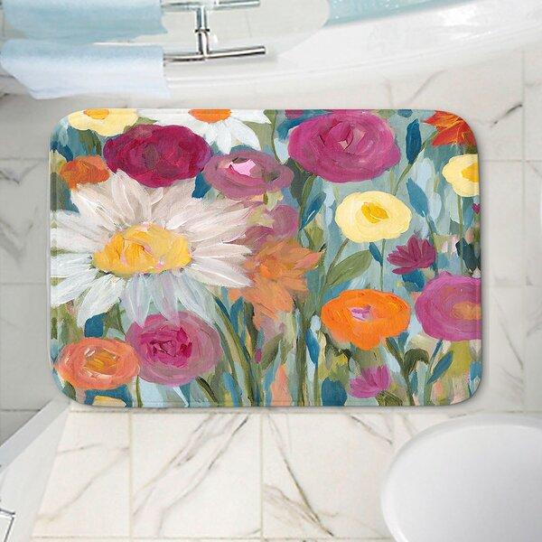 Flowers Rectangle Non-Slip Floral Bath Rug