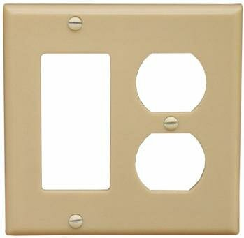 2 Gang 1 GFCI 1 Duplex Lexan Wall Plates in Ivory by Morris Products