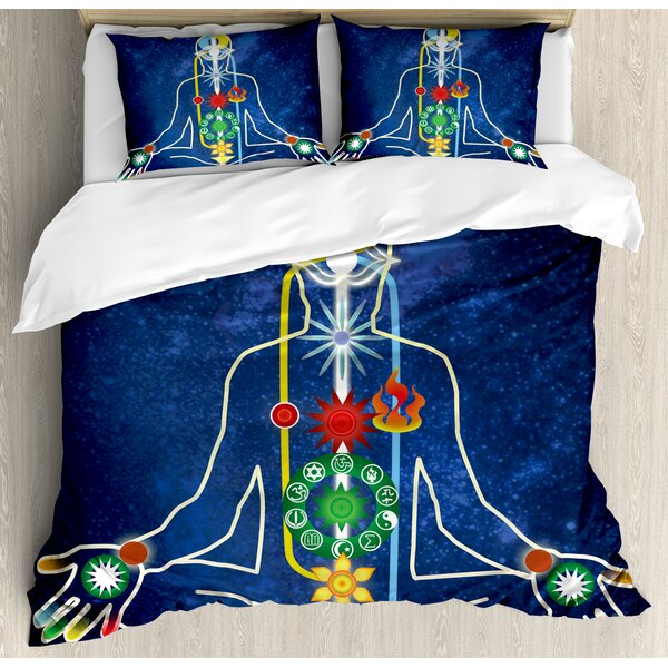 Yoga Scheme of Power Body of a Person Transcendence Spirituality Meditating Duvet Set by East Urban Home