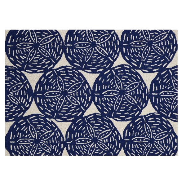 Moira Hand-Hooked Wool Navy Area Rug by Highland Dunes