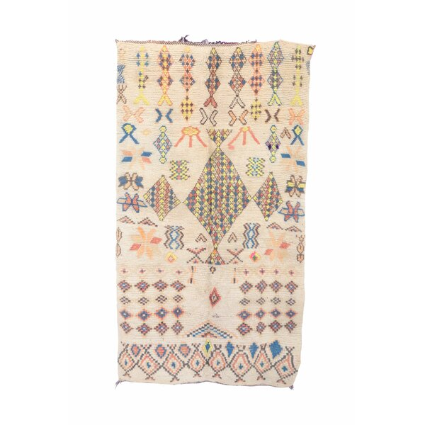 Azilal Vintage Moroccan Hand Knotted Wool Cream/Yellow/Blue Area Rug by Indigo&Lavender