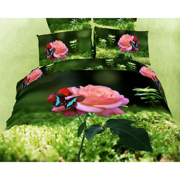 Aiysha Butterfly Rose 6 Piece Duvet Cover Set