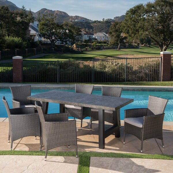Dostal Outdoor 7 Piece Dining Set with Cushions by 17 Stories