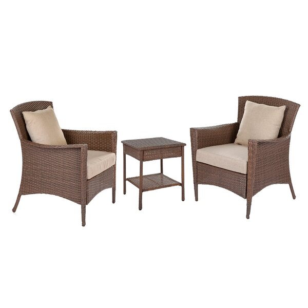 Willernie 3 Piece Rattan Seating Group with Cushions by Bloomsbury Market
