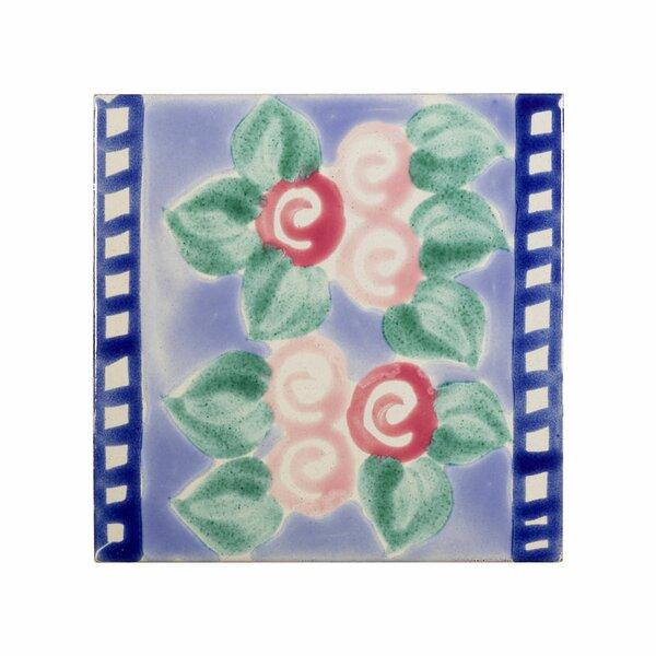 Mediterranean 4 x 4 Ceramic Corsica Decorative Tile in Purple by Casablanca Market