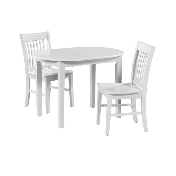 Shorewood 3 Piece Drop Leaf Solid Wood Oval Dining Set by August Grove