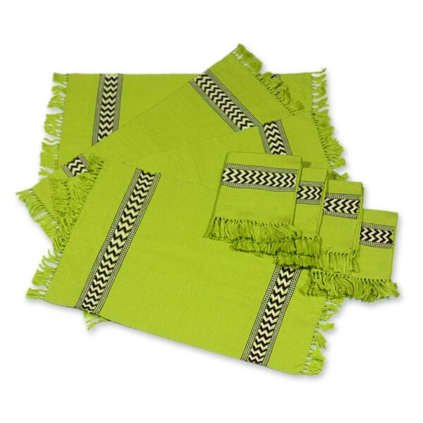 Tree Unique Hand Woven Cotton Napkin and Placemat Set (Set of 4) by Novica