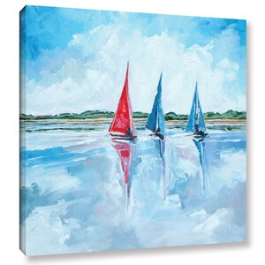 Three Boats I Painting Print on Wrapped Canvas by Breakwater Bay