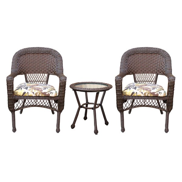 Belwood Resin Wicker 3 Piece Dining Set with Cushions