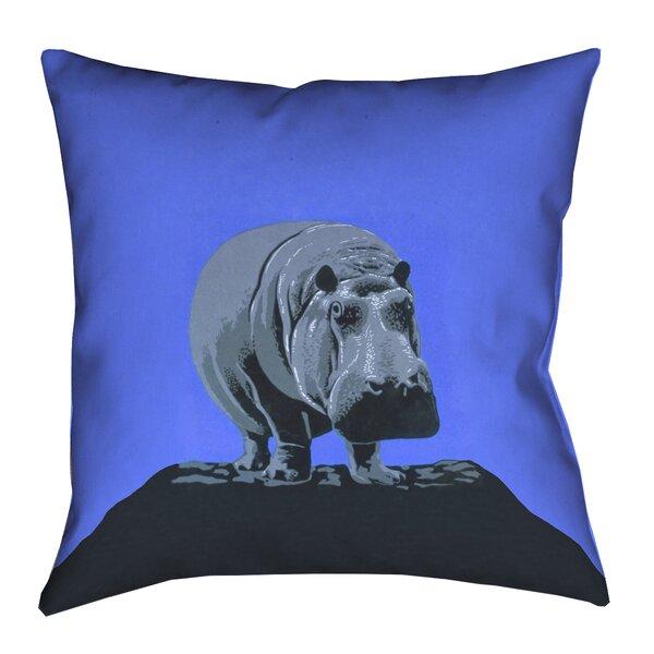 Hansard Vintage Hippo Zoo Poster Square Euro Pillow by Latitude Run