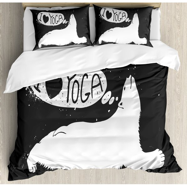 Cute Polar Bear Saying I Love Yoga Grunge Wildlife Illustration Meditation Duvet Set by East Urban Home