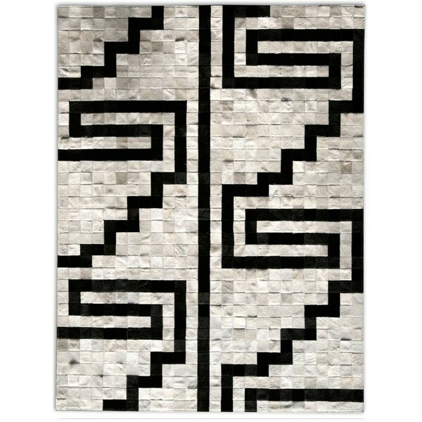 Patchwork Cowhide Pampa Noche Hand Woven Black/Ivory Indoor Area Rug by Pure Rugs