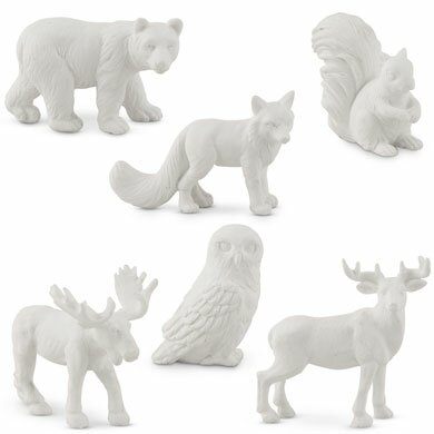 6 Piece Miniature Woodland Assorted Animal Figurine Set by Weddingstar
