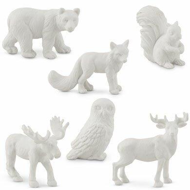 6 Piece Miniature Woodland Assorted Animal Figurine Set by Weddingstar