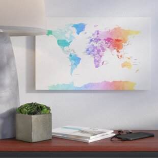 World map wall art watercolor political world map graphic art on wrapped canvas gumiabroncs Images