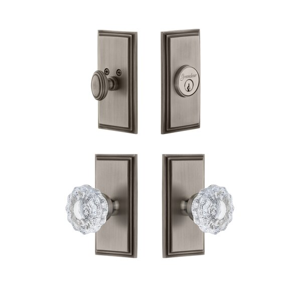 Carre Single Cylinder Knob Combo Pack with Versailles Knob by Grandeur