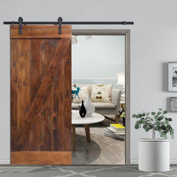 Z-Bar Solid Wood Room Divider Pine Slab Interior Barn Door by Calhome