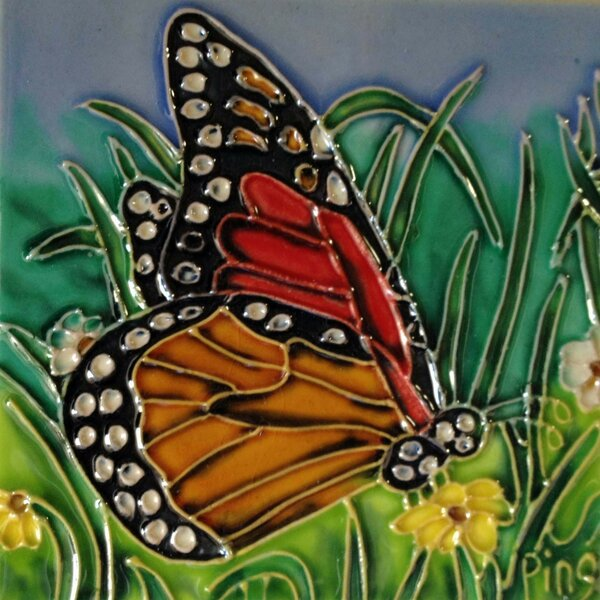 Red/Yellow Butterfly with Green Tile Wall Decor by Continental Art Center