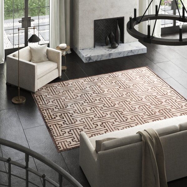 Hand-Knotted Silk Dark Brown Area Rug