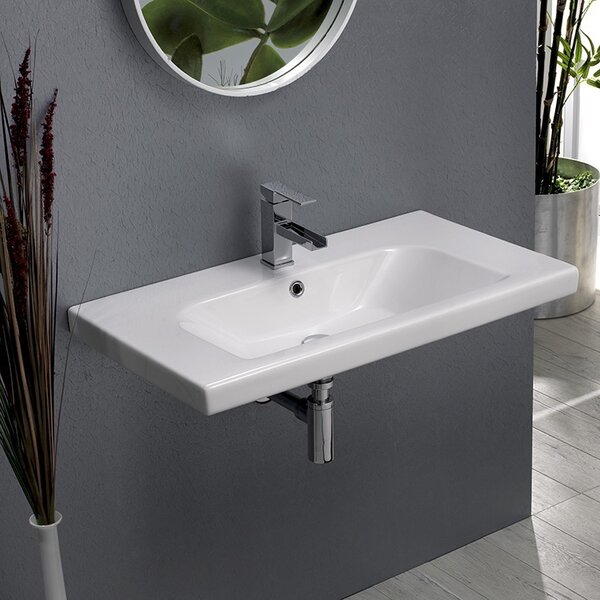 Ceramic Rectangular Drop-In Bathroom Sink with Overflow by CeraStyle by Nameeks