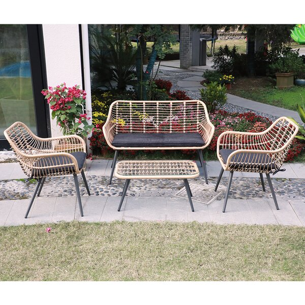 Richboro 4 Piece Rattan Sectional Seating Group with Cushions by Bungalow Rose