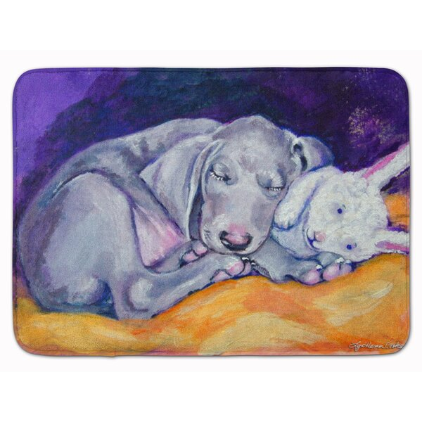 Weimaraner Snuggle Bunny Rectangle Microfiber Non-Slip Bath Rug
