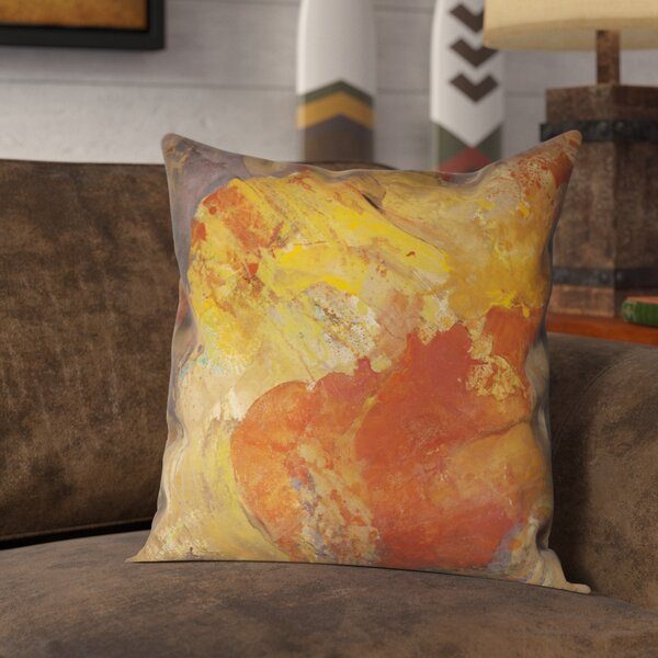 Magdalene Abstract Amber Outdoor Throw Pillow By Union Rustic